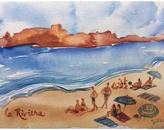 """La plage, French Riviera, original watercolor  6"""" x 9"""""""