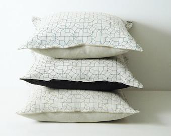Geometric cushions, black pillow cover, green geometric print cushion, housewarming gift, sofa cushions