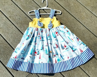Sailboat Dress - Girls Nautical Dress - Sailboats - Birthday Dress - Girls Beach Dress - Knot Dress -  Groovy Gurlz