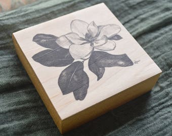 Magnolia Blossom Drawing on Wood - Pen and Ink Print - Hand Signed by artist Heather L. Young