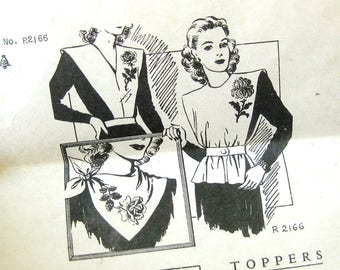 1940s Vintage Sewing and Embroidery Pattern - Toppers / Jerkin / Mail Order Pattern R 2166 / Floral Embroidery Transfer / One Size