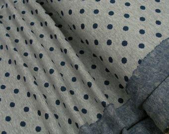Jacquard blue polka dots on gray 0.54yd (0,5m) 003407