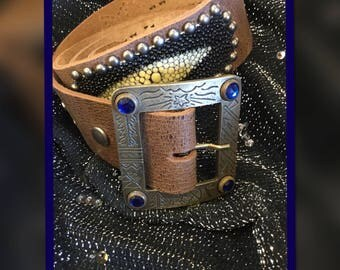 Classic vintage brown leather and Stingray skin with silver and antique gold tone studded rockabilly western biker belt