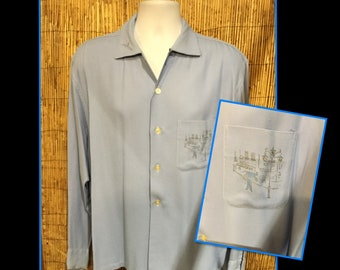 Vintage 1950s gabardine shirt with image of Eiffel Tower