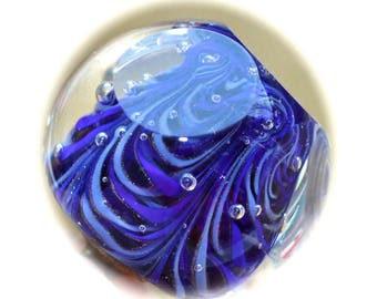 Button ~ Intermixed Blue Glass, Paperweight, Faceted, Lampworked by KPHoppe ~ Medium