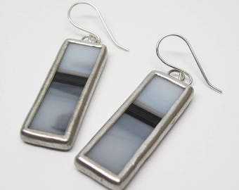 Dark Division - Sterling Silver Stained Glass Earrings