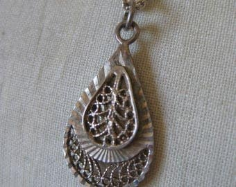 Teardrop Filigree Sterling Necklace Vintage Pendant 925 Silver Turkey