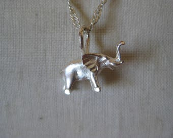 Elephant Sterling Necklace Vintage Pendant 925 Silver