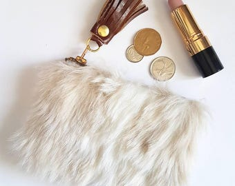 REPURPOSED Faux Fur Change Purse. Upcycled Fur. Fake Fur.  Leather Pouch. Leather Coin Purse. Leather Tassel. Ready To Ship.