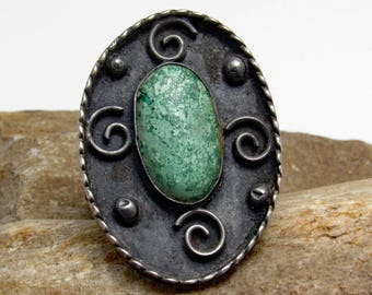 Large Sterling Turquoise Ring Native American Jewelry R8858