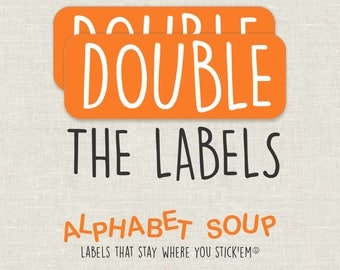 double the labels | personalized waterproof, dishwasher safe labels by AlphabetSoupLabels