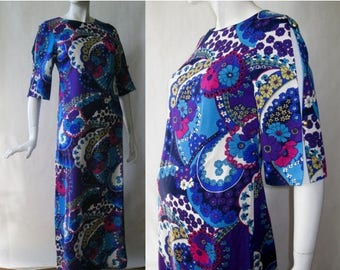MOVING SALE 1960's Hawaiian dress, full length, with slashed elbow sleeves, brilliant blue, purple, turquoise, yellow, white flower print, s