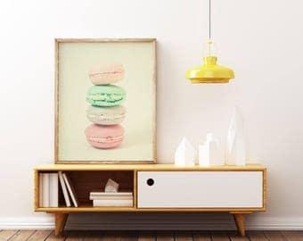 Macaron Print, Food Art, Pastel Decor, Retro Kitchen Wall Art - Four Macarons