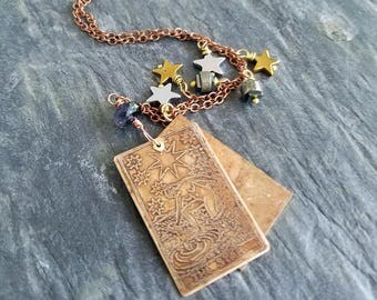 Tarot Card Pendant, Major Arcana, Fortune Teller, Wiccan, Witchcraft, Magick, Etched Copper, Gold Stars, Silver Stars, Pyrite, Hematite
