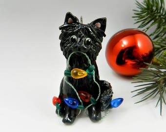 Black Cat Angora Christmas Ornament Figurine Lights Porcelain