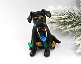Labrador Retriever Black Christmas Ornament  Lights Porcelain
