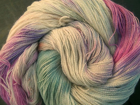 Baby Alpaca 30% Mulberry Silk Laceweight 2ply Yarn Elvincraft Hand Dyed Frozen Waterfall