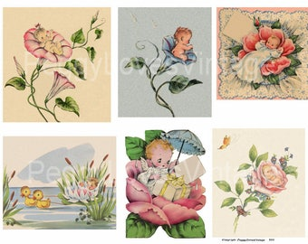Flower Babies 2 Digital Collage from Vintage Greeting Cards - Instant Download - Cut Outs