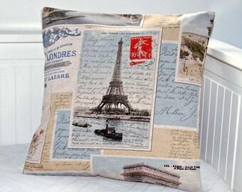 Eiffel Tower photo cushion cover, vintage style Paris postcard decorative pillow cover,