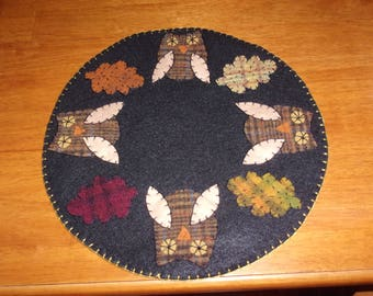 Penny Rug Candle Mat 12 inch Owls and Fall Leaves