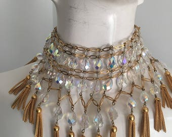 1960's AB crystal and Tassel bib necklace