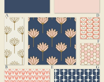 Blush Pink, Navy Blue and Gold  Custom Crib Bedding Set - The Kathryn Collection
