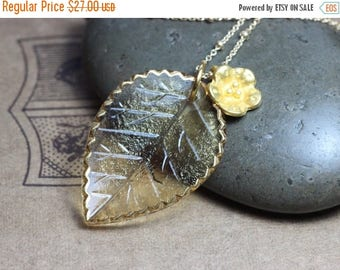 SALE Glass Leaf Necklace Czech Pressed Glass Honey Yellow Gold Flower Necklace