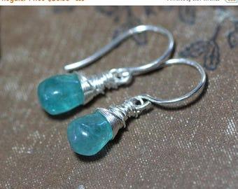 SALE Apatite Earrings Aqua Blue Gemstone Earrings Sterling Silver Wire Wrapped Briolette Earrings Luxe Rustic Jewelry