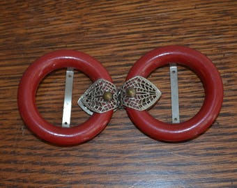 Vintage Buckle Set.  Sew On Red Painted Wood with silver open weave spider web mesh with gold bead accent.  cape closure belt buckle.