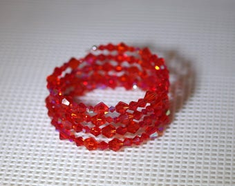 Memory Wire Bracelet - Czech Crystal - July Birthstone - Ruby/Red - One Size Fits All - Several Colors Available - 4 strand