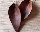 Leather Earrings, Leather Leaf Earrings, Joanna Gaines Inspired, You Choose Color