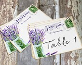 Wedding Table Cards Lavender In Mason Jar Postcard Large Double Sided or Single Sided Table Place Cards or Signs #180