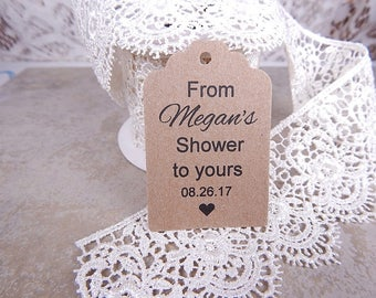 Wedding Shower Tags, Bridal Shower Tags, Personalized Shower Tags, Shower Favor Tags, From (Name) Shower to Yours