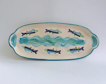 Swimming Fish Plate, Fish Platter, Handmade Ceramics, Beach House Decor, Cheese Board, Fish Serving Plate, Nautical Plate Platter, Fish Dish
