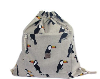 toucan bird backpack cotton linen
