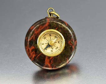 Antique Watch Fob Compass Necklace Pendant, Dragon Blood Agate Pendant Charm, Victorian Pendant, Best Friend Gift, Boho Good Luck Charm