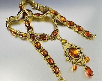 Art Deco Rhinestone Necklace Pendant | Art Deco Necklace | Vauxhall Glass Necklace | Czech Glass Necklace | Gold Topaz Necklace | Edwardian