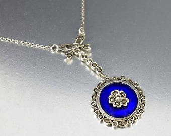 Antique Marcasite Silver Pansy Necklace | Cobalt Blue Glass Edwardian Necklace | Dainty Bow Antique Necklace | Vintage Marcasite Necklace