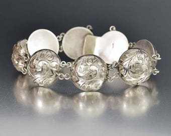 Antique Silver Engraved Edwardian Bracelet | Domed Half Circle Silver Bracelet | 1900s Antique Jewelry | Art Nouveau Bracelet Swirl Design