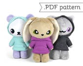 Standing Animal Plush Sewing Pattern .pdf Tutorial Cat Kitty Rabbit Bunny Panda Bear