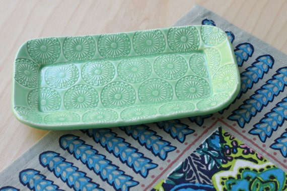 green butter dish/ small tray