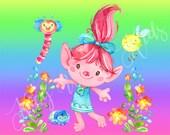 Trolls Knit Panel - doll size - Poppy and friends on rainbow