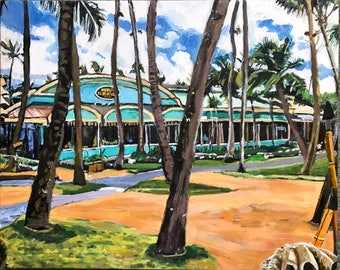 Mama's Fish House, Paia Maui Hawaii, Hawaiian Original Painting Tropical art Restaurant Beach turquoise, 16x20, Pacific Aloha Gwen Meyerson