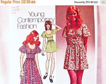 on SALE 25% Off 1970s Boho Maxi Dress Pattern Misses size 12 Simplicity Young Contemporary Pattern Long Dress, Mini Dress Vintage Pattern