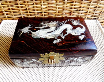 Vintage Korean Jewelry Box with Mirror...Mother Of Pearl Inlay Dragon Mythical Figure...Floral and Butterfly Inlay...