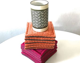 coaster set - houndstooth check - pink and orange coasters