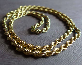 Vintage Gold Tone Monet Rope Necklace 30 Inches, Shiny Long Gold Metal Rope Chain Necklace, 1980s Long Gold Chain