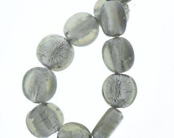 "Glass flat beads , 15mm x 6mm Purple Flat Disc Foil Lined Glass Beads, 7"" strand 08194.97"