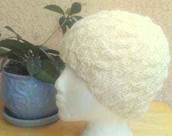 Ready to Ship. Cream colored Cable Hat. Off White Winter Hat. Wool/Acrylic Yarn. Hand Knit Hat. Girlfriend Gift. Beanies for Women.