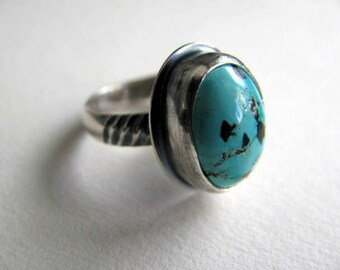 Turquoise Ring, Sterling Silver Ring, Handmade Sterling Silver Jewelry, Turquoise Gemstone Ring Size 7.5